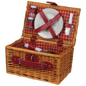 Picknickkorb für 2 Personen / mit Besteck,Saz+Pfefferstreuer,Kellnermesser ...