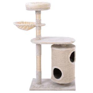 Katzenbaum mit Kratztonne,Katzenbaum mit Zylindrisches Katzenhaus,Kratzbaum Aktivitätszentrum für Katzen(Beige)