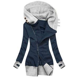 Frauen Zip Up Kapuzen Sweatshirt Mantel Winterjacke Hoodies Slim Fit Outwear Tops,Farbe: Dunkelblau,Größe:M