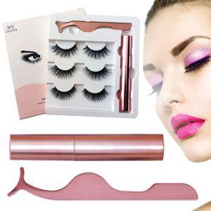 3 Paar Magnetische Wimpern, Künstliche Wimpern Natürlich Wasserdicht Falsche Wimpern Kit 3D Falsche Eyelashes mit Magnetischer Eyeliner und Pinzette