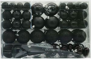 101 Set Weihnachtskugeln Schwarz mit Spitze und Metallhaken
