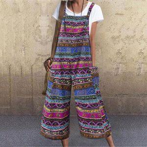 Womens Holiday Strap Playsuit Romper Damen Sommer Strand gedruckt Floral Jumpsuit-M blau