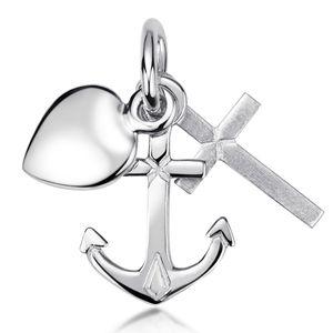 MATERIA Glaube Liebe Hoffnung Kettenanhänger - 925 Silber Anhänger mit Herz Anker Kreuz rhodiniert mit Geschenkbox KA-13