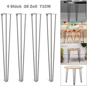 Tischbeine Hairpin Legs Tischgestell 4er Set Haarnadelbeine Silber 71cm Tisch