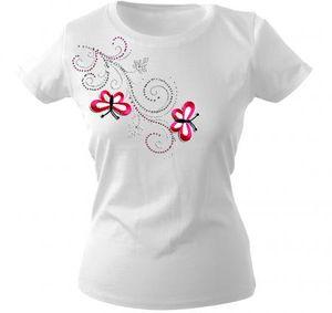 Girly-Shirt mit Strasssteine Glitzer Applikation   Schmetterlinge Butterfly   G12853   Gr. XS-2XL Color - weiß Größe - XL