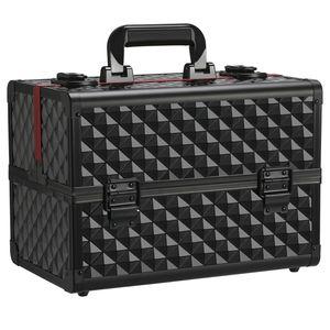 Yaheetech Schminkkoffer schwarz Alu Kosmetikkoffer Werkzeugkoffer Nagel Koffer Beauty Case