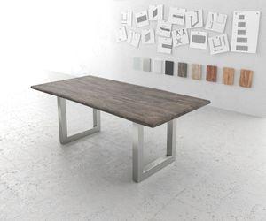Massivholztisch Live-Edge Akazie Platin 200x100 Platte 3,5cm Gestell breit Baumtisch