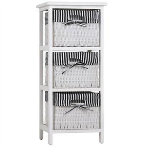 Casaria Korbregal Badregal mit 3 Körben Landhaus Stil Paulownia Holz Bad Küchen Regal Kommode Anrichte Schublade, Farbe:schwarz-weiß