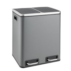 SVITA TM2X15  Treteimer 30 Liter 2x15L grau Abfalleimer Mülleimer Mülltrennung Stahl