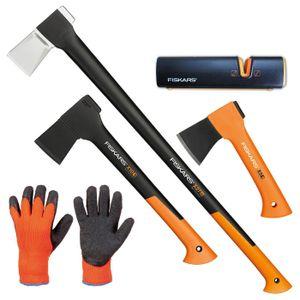 FISKARS Set Spaltaxt X27-XXL + X10-S + X5-XXS + Xsharp Schärfer + Handschuhe