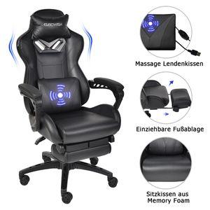 Puluomis Massage Gaming Stuhl Bürostuhl Racing Computerstuhl  Ergonomisches Sportsitz höhenverstellbarer Stuhl mit Fußstütze (Schwarz)