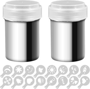2 Edelstahl Powder Shakers, Mesh Shaker Pulver Dosen für Kaffee Kakao Zimt Pulver mit Deckel, mit 16 Stück Druckformen Schablonen
