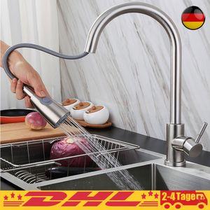 360° Drehung Ausziehbar Küchenarmatur Wasserhahn Spültisch Mischbatterie Rostfreier Edelstahl Drahtziehen