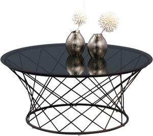 Couchtisch Noa in Schwarz - Glas, Metall | Ø 80 cm | Höhe 35 cm