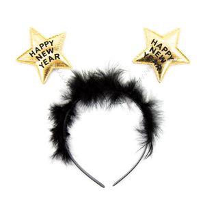 Oblique Unique Haarreifen Happy New Year Silvester Party Haarreif mit Sternen Neujahr Feier Fest - gold schwarz