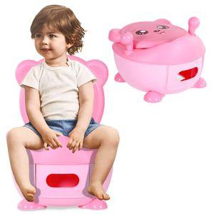 COSTWAY Toepfchen Kinder | Toilettensitz Baby | Kindertoilette 34x33x22cm | Toilettentrainer | Babytopf | Lerntoepfchen Farbwahl (rosa)