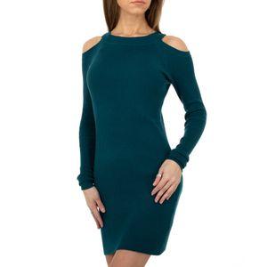 Ital-Design Damen Kleider Strickkleider Petrol Gr.s/M