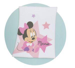 Herding Disney's Minnie Mouse Baby Microfaser-Flauschdecke, weiß-rosa, 75x100cm