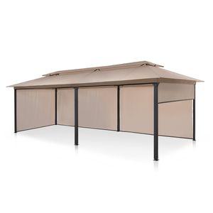 blumfeldt Grandezza Cortina Gartenpavillon , überdachte Fläche: 3 x 6 m , 4 Seitenteile mit Rollmechanismus , pulverbeschichteter Stahl , Dach mit wasserabweisender Beschichtung , rostfrei , Stoff waschbar , beige