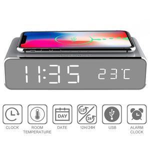 Meco LED Wecker Digital Tischuhr mit Induktionsladegeräten / Datum / Temperatur Anzeige Silber