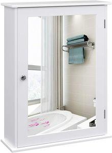 VASAGLE Spiegelschrank, Wandschrank, Badschrank mit höhenverstellbarer Regalebene, Hängeschrank, 41 x 14 x 60 cm, weiß LHC001