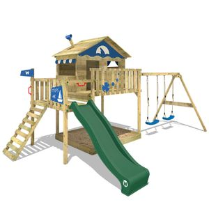 WICKEY Spielturm Klettergerüst Smart Coast mit Schaukel & grüner Rutsche, Stelzenhaus mit Sandkasten, Kletterleiter & Spiel-Zubehör
