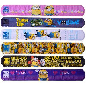 6 Stück TE-Trend Minions Snap Slap Band Armband Armring Kinder Schnapparmband Geburtstagsparty Mitgebsel