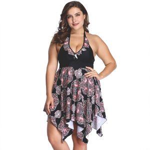 y Dance Damen Badeanzug Bauchkontrolle Bedruckte Badebekleidung Schwimmrock,Farbe:Rosa,Größe:6XL