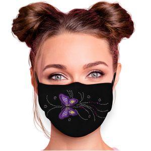 Alsino Alltagsmaske Mundschutzmaske Mundschutz Stoffmaske mit Glitzersteinchen verstellbar Herren Damen verschiedene Motive, Modell wählen:Schmetterling lila