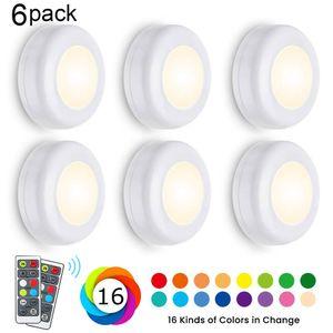 6 Stücke LED RGB Schrankleuchte mit Fernbedienung Wandleuchte Nachtlicht Unterbauleuchte Küche Vitrinenbeleuchtung