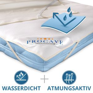 PROCAVE wasserundurchlässige Matratzenauflage in 80x160 cm mit 4-Eckgummis - wasserdichter Matratzenschoner