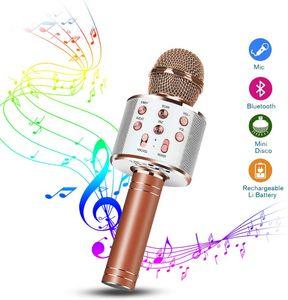 Karaoke Mikrofon, Bluetooth Mikrophon Kinder, Lautsprecher Dynamisches Licht Drahtlose Tragbares Handmikrofon mit Aufnahme für Erwachsene und Kinder, Kompatibel mit Android IOS PC