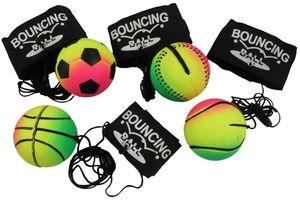 4er Set Neon-Springball/Returnball/Flummi, Armband & Schnur, Safety Clip, Fußball/Basketball/Tennisball/Baseball Ø6,3cm
