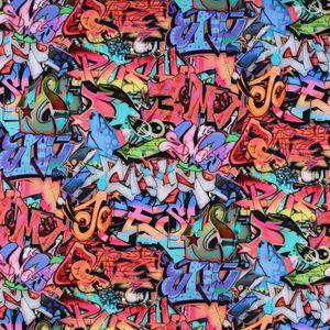 French Terry Sommersweat GOTSDigitaldruck Graffiti bunt 1,45m Breite