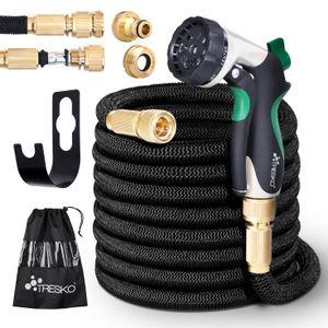 TRESKO® Premium Gartenschlauch Flexibler Wasserschlauch dehnbarer Flexischlauch Schwarz 30m