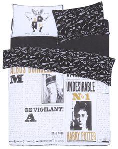 Schwarz-weißes Bettwäsche-Set 230x220 HARRY POTTER