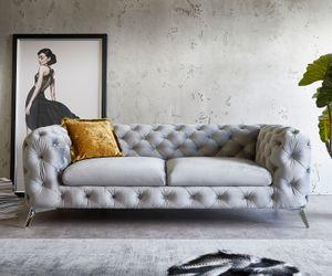Sofa Corleone Grau 225x97 cm Samt 3-Sitzer Couch