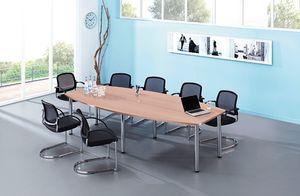Konferenztisch Bootform, 720-740 x 2800 x 850/1300 mm, chrom/nussbaum