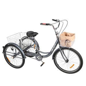 24 Zoll Dreirad für Erwachsene Fahrrad 3-Rad-Dreirad mit 2 Einkaufskörbe Räder