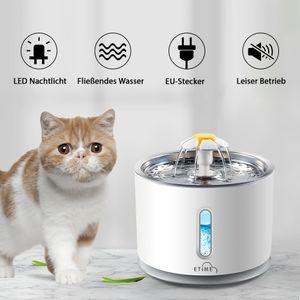 Etime Katzen Trinkbrunnen 2,4 Liter Leise Automatisch Wasserspender FLOWER DELUXE mit LED-Licht ,EU-Stecker&USB für Haustiere