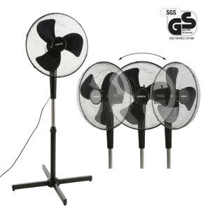 AREBOS Standventilator 45 W Luftkühler Ventilator Lüfter Oszillierend Schwarz