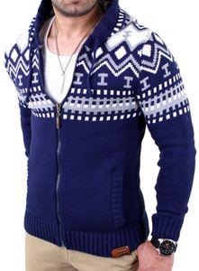 Reslad Herren Grobstrick Norweger Winter Strickjacke mit Kapuze RS-3104  Blau S
