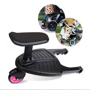 Kinderwagen Hilfspedal, Kinderbuggy Trittbrett mit großer Stehfläche, Zubehör für Kinder von 2-6 Jahren (25 kg),Buggy Board mit Sitz Stehplatte 45×26×35cm(Blau)