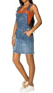 Damen Denim Jeans Latz Rock Basic Minirock Latzkleid Fransen Jeansskirt Sommerkleid Jumpsuit, Farben:Blau, Größe:38