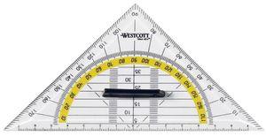 WESTCOTT Geodreieck Hypotenuse: 140 mm mit Griff