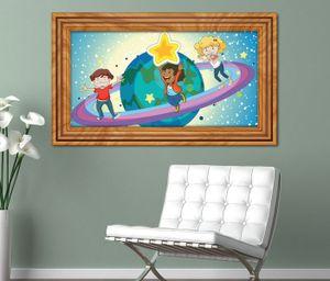 3D Wandtattoo Saturn Kinderzimmer Sterne Weltall  selbstklebend Wandbild sticker Wohnzimmer Wand Aufkleber 11K564, Wandbild Größe F:ca. 97cmx57cm