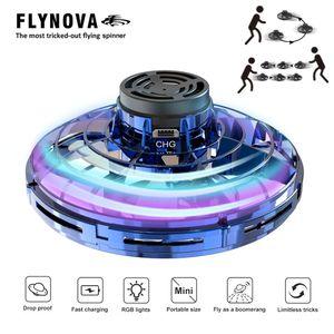 Flynova UFO Fingertip Upgrade Flug Gyro Flying Spinner Dekompressionsspielzeug fuer Erwachsene und Kinder (blau)