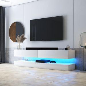 Selsey TV-Lowboard HYLIA Weiß Matt/ Weiß Hochglanz mit LED - Beleuchtung 140 cm breit