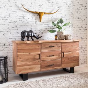 WERAN Sideboard  Massiv-Holz Akazie Natur Baumkante Landhaus-Stil Kommode mit Schubladen & Türen