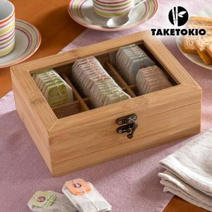 Bambus Teebox mit Fenster 6 Fächer Teekiste Teedose Kaffeepads Teebehälter